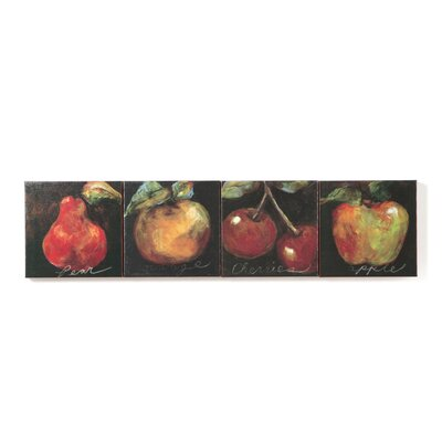 Assortment of Fruit (Apple, Cherry, Pear and Orange) Canvas Art - Etienne (Set of 4) ...
