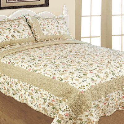 Textiles Plus Inc. Blooming Garden 3 Piece Quilt Set