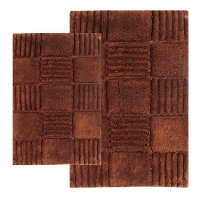 Chesapeake Merchandising Inc. Checkerboard 2 Piece Chocolate Contemporary Bath Rug Set