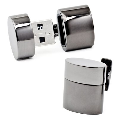 Ravi Ratan Gunmetal Oval USB Cufflinks (4GB)