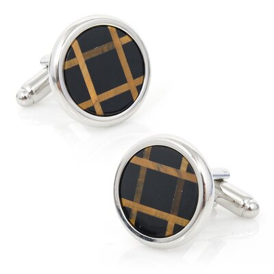 Ox and Bull Polished Onyx and Tigers Eye Grid Cufflinks