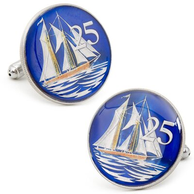 Penny Black 40 Cayman Islands 25 Cent Coin Cufflinks