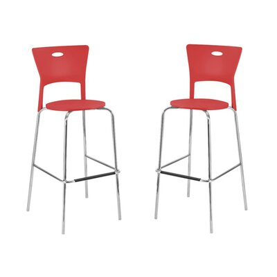 LumiSource Mimi Barstool in Red (Set of 2)