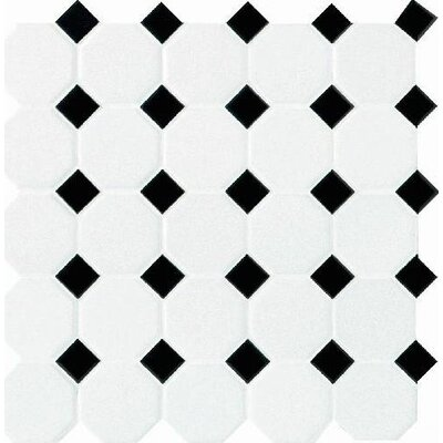 Daltile Octagon and Dot 12&quot; x 12&quot; Mosaic in Matte White with Black Gloss Dot