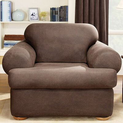 Stretch Leather Two Piece Chair T-Cushion Slipcover