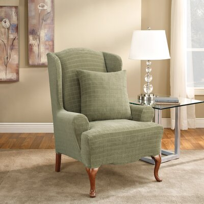 Sure-Fit Stretch Squares Wing Chair Slipcover