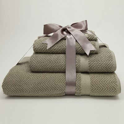 Luxury Hotel & Spa Herringbone Weave 100% Turkish Cotton 4 Piece Towel Set