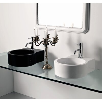 Moda Collection Groove Vessel Sink in White