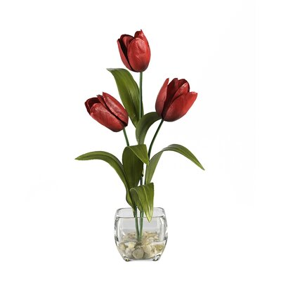 Nearly Natural Liquid Illusion Silk Tulip Arrangement in Red