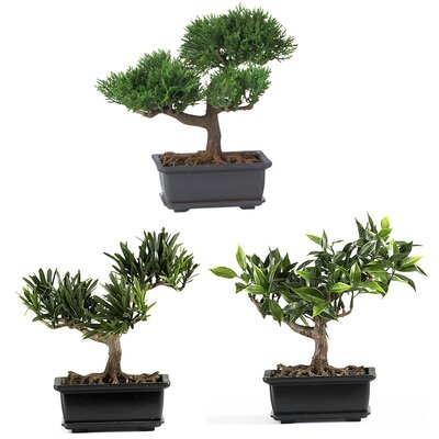 "Nearly Natural 8.5"" Silk Bonsai Plant in Green (Set of 3)"