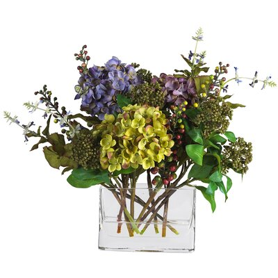 Nearly Natural Mixed Hydrangea Silk Flower Arrangement with Rectangle Vase
