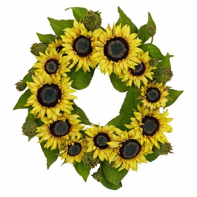 Nearly Natural 22&quot; Sunflower Wreath