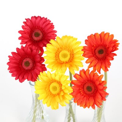 Nearly Natural Gerber Daisy in Red / Orange / Yellow with ...