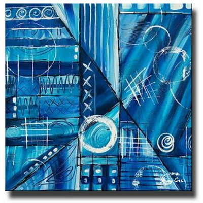 'Blue Blunder' Contemporary Canvas Art in Blue