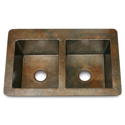 "D'Vontz 36"" x 22"" x 10"" Double Bowl 50/50 Hammered Copper Kitchen Sink"
