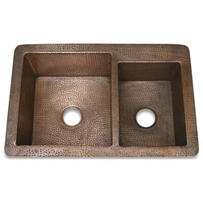 "D'Vontz 36"" x 22"" x 10"" Hammered Copper 60/40 Kitchen Sink"
