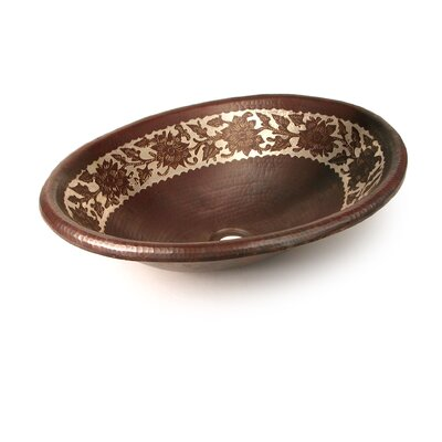 D'Vontz Silver Etched Floral Oval Copper Undermount Sink