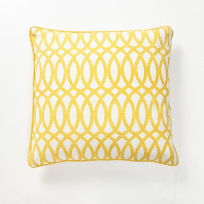 Villa Home Green Fields Geo Pillow in Yellow Cotton