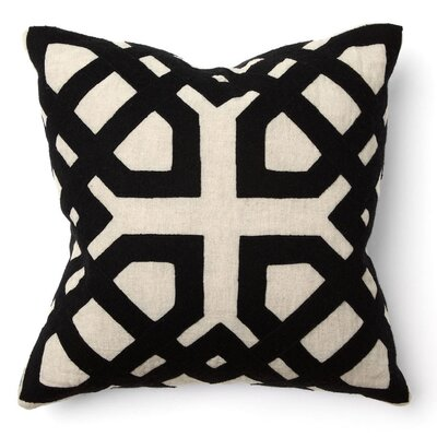 Villa Home African Mod Khwai Applique Pillow in Black