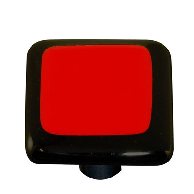 Hot Knobs Borders Cabinet Knob in Brick Red with Black Border