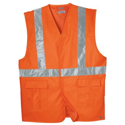 High Visibility ANSI Class 1 Tri-Color Safety Vest in Orange