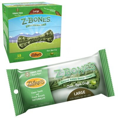 Zukes Z-Bone Natural Edible Dental Chew Dog Treat
