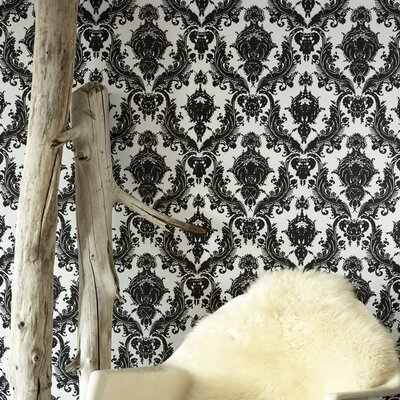 Tempaper Damsel Temporary Wallpaper in Black / White
