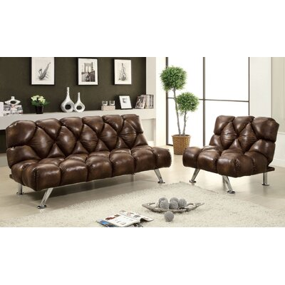 Hokku Designs Jenello Vinyl Convertible Sleeper Sofa