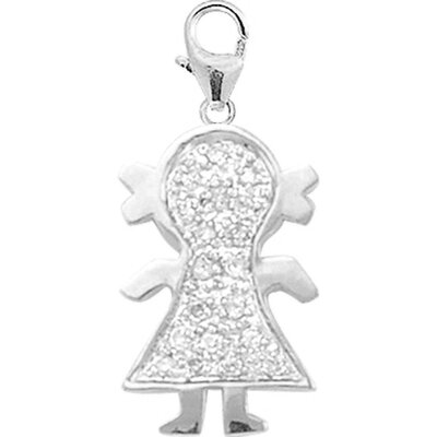 14K 1.25 Grams White Gold Diamond Girl Charm