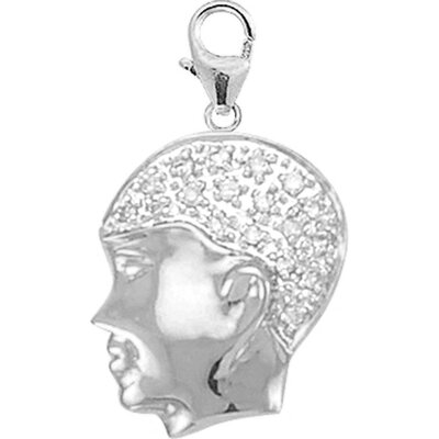 EZ Charms 14K White Gold Diamond Boys' Head Charm