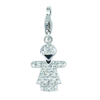14K 0.92 Grams White Gold Diamond 0.08Ct Girl Hugs Charm