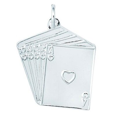 EZ Charms Sterling Silver Heart Straight Flush Charm