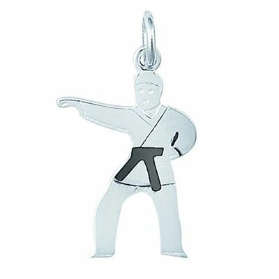 EZ Charms Sterling Silver Enamel Karate Black Belt Boy Charm