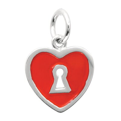 Sterling Silver Keyhole and Heart with Red Enamel Charm