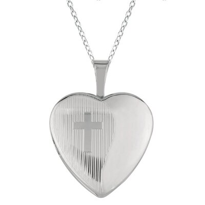 Heart Shaped Locket Necklace with Cross in Silver