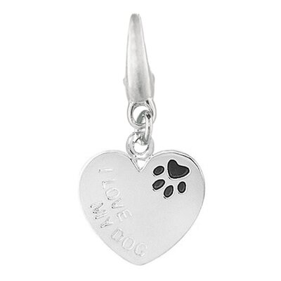Sterling Silver Heart I Love My Dog with Enamel Paw Print Charm