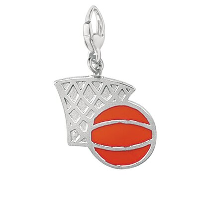 EZ Charms Sterling Silver Red Enamel Basket Ball and Hoop Charm