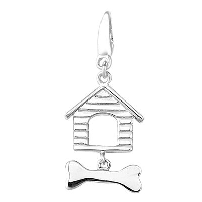 Sterling Silver Dog House and Bone Charm