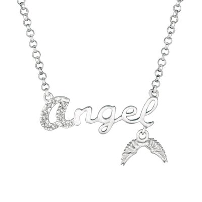 "EZ Charms Silver Diamond ""Angel"" with Wings Necklace"