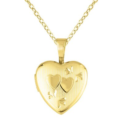 EZ Charms Heart Shaped Locket with Double Heart Necklace