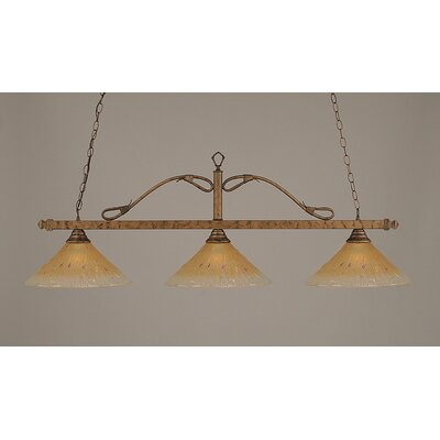 Toltec Lighting 3 Light Wrought Iron Rope Kitchen Island Pendant