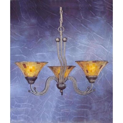 Toltec Lighting Wave 3 Light  Chandelier with Pen Shell Shade