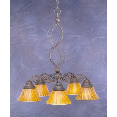 Toltec Lighting Jazz 5 Light  Chandelier with Tiger Glass Shade