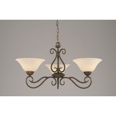 Olde Iron 3 Light Chandelier with Marble Glass Shade