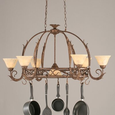 Leaf 8 Light Chandelier Pot Rack with Italian Marble Glass Shade