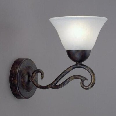 Toltec Lighting Olde Iron 1 Light Wall Sconce with Glass Shade