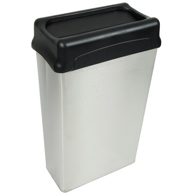 Witt 22 Gallon Rectangular Stainless Steel Waste Basket with Optional Drop Top (Set of 3)
