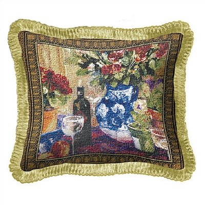 Fine Art Tapestries Red Roses with Wine Pillow