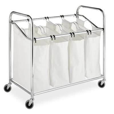 Whitmor, Inc Canvas Four Section Laundry Sorter in Chrome