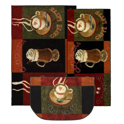New Wave Kitchen Caffe Latte Novelty Rug (Set of 3)